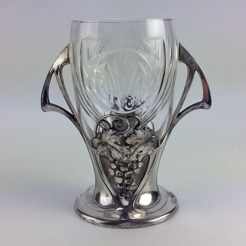 WMF silver plated Celery stand with original fine cut crystal glass liner (c.1906)