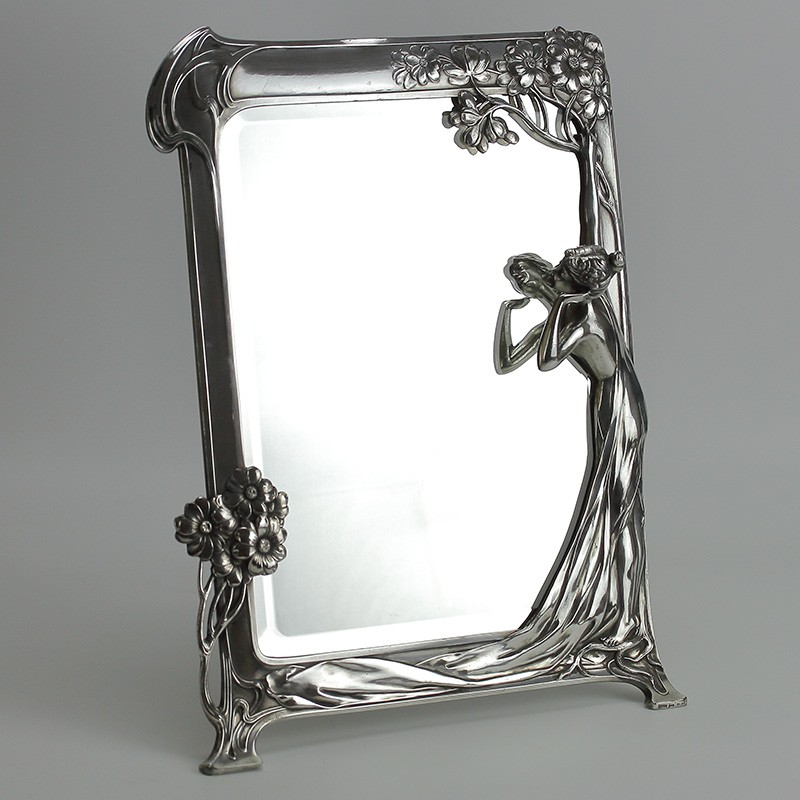 WMF silver Plated Toilet Mirror with original beveled glass mirror. Circa 1906.