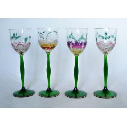 Theresienthal four Art Nouveau Hock glasses. Enamelled glass with foliage decoration (c.1900)
