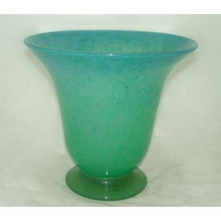 Monart Scottish glass vase in sea green/blue with original paper label to base (c.1935)
