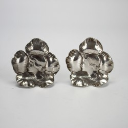 WMF Pair of Art Nouveau silver plated Maiden profile menu holders. Circa 1900