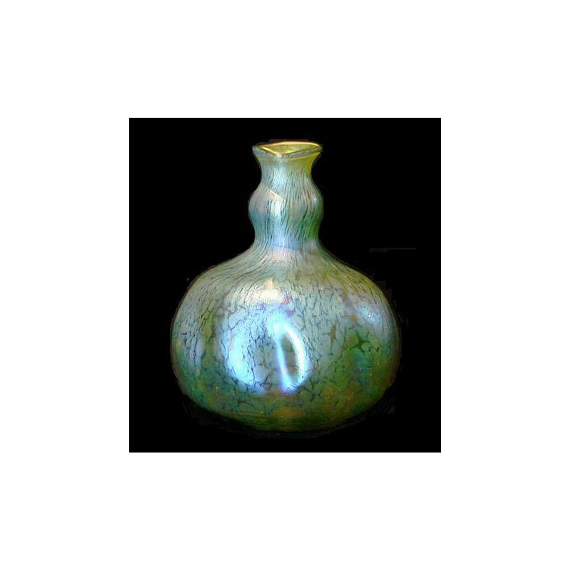 Loetz Papillon Iridescent Vase With Dimpled Sides C1900
