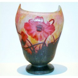 Daum pedestal vase decorated with poppy flowers and leaves. (c.1900)