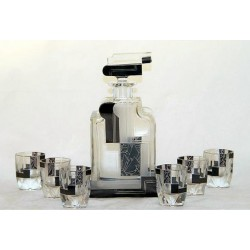 Art Deco clear frosted and black decanter with six matching shot glasses. (c.1930)
