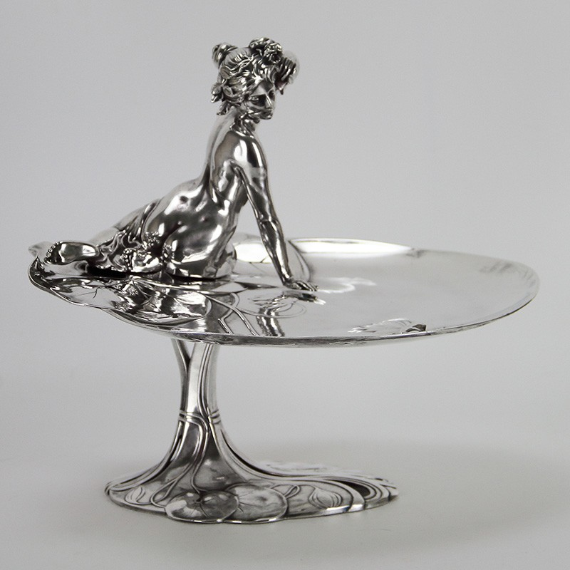 WMF Silver Plated Visiting Card Tray with a Maiden Sitting on a Lily Pad. (c.1900)