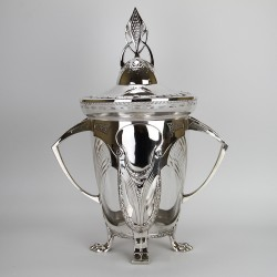 Antique WMF Art Nouveau large silver plated punch bowl. Circa 1907.