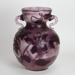 Emile Gallé, Nancy Large and Rare Art Nouveau Fire Polished Cameo Glass Vase