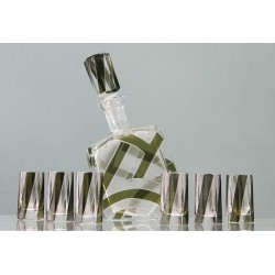 Karl Palda Bohemian Art Deco green and white glass decanter with six shot glasses (c.1920)