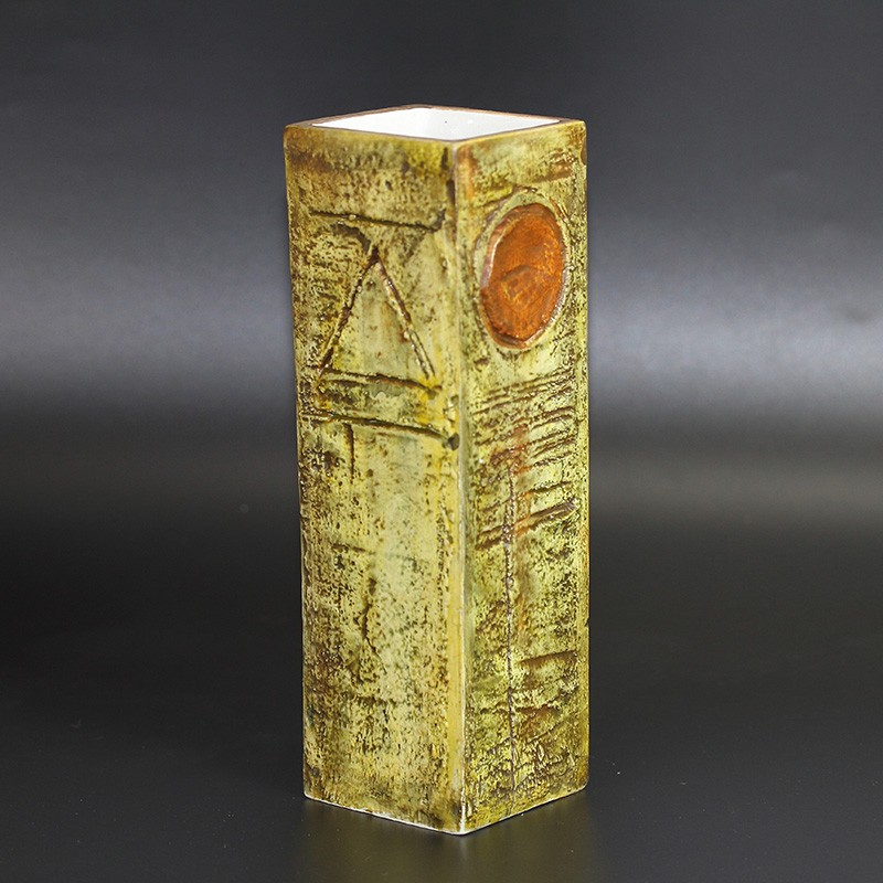 Troika Early Vase by Benny Sirota in Rare Moss Green and Brown (c.1968)