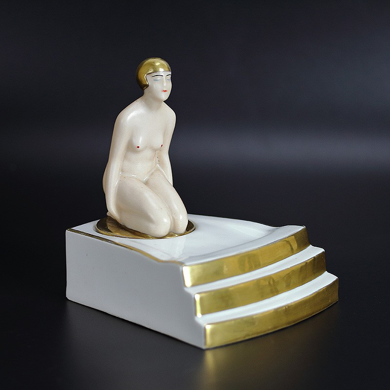 Robj (Paris) Art Deco inkwell with kneeling female in white and gilded porcelain. (c.1930)
