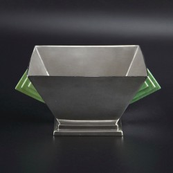Art Deco Silver Bowl with Green Bakelite Geometric Handles. 1933.