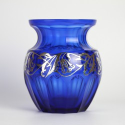 Alexander Pfohl Lead Crystal Cobalt Blue Vase with Silver Overlay (c.1930)