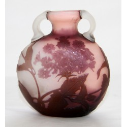 Galle cameo glass vase with leaves and flowers peach/clear background. Signed (c.1900)