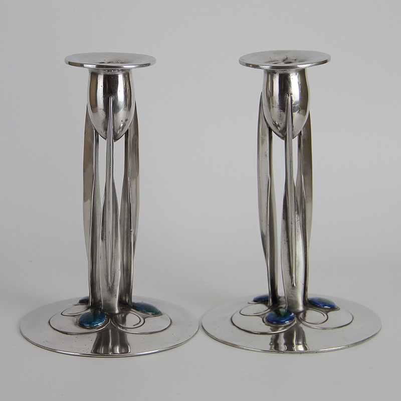 Archibald Knox for Liberty & Co Pewter and Enamel Candlesticks (c.1903)