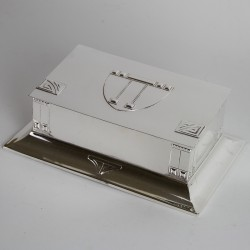 WMF Art Nouveau silver plated box with cedar wood lining, sloping hinged lid, and flared base. (c.1900)