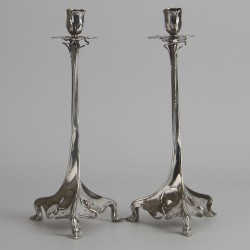 Antique Art Nouveau Pair of German Silver Plated Candlesticks. (c.1900).