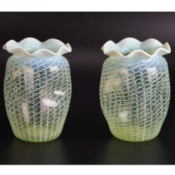 Pair of Vaseline glass vases with striped decoration attributed to James Powell or John Walsh in perfect condition (c.1880)