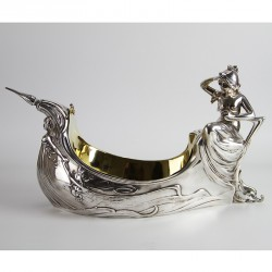 WMF Art Nouveau silver plated large flower dish designed as a boat (c.1900)