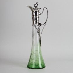 WMF Art Nouveau silver plated claret jug with floral acid etched crystal cut glass liner fading from green to clear (c.1900)