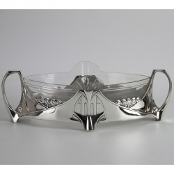 Antique WMF Art Nouveau silver plated flower dish with original crystal cut glass liner. (c.1906).