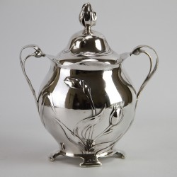Antique WMF Art Nouveau Silver Plated Biscuit or Sweet Jar with Original Glass Liner. (c.1906).