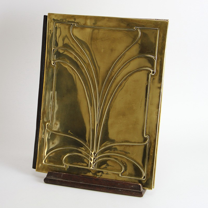 Antique Art Nouveau Brass Bound Document Folder with Art Nouveau Design (c.1900)
