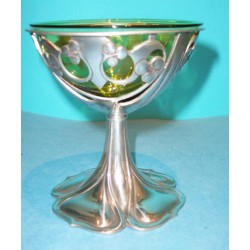 Archibald Knox for Liberty & Co pewter and Powell glass Chalice. Stamped marks. (c.1903)