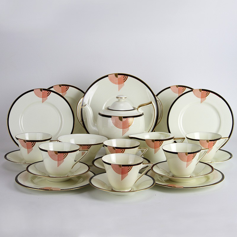 Art Deco Royal Doulton Tango pattern porcelain tea set. (c.1937).