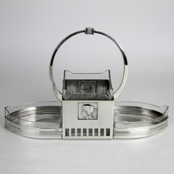 WMF Silver Plated Secessionist Flower Dish with a Female Profile to Each Side (c.1906)