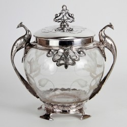 WMF Art Nouveau Silver Plated Biscuit Box Decorated with Peacock Handles. (c. 1906).