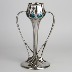 Archibald Knox for Liberty & Co Pewter vase inset with eight blue green enamels. Stamped marks to base Tudric 029 (c.1903)