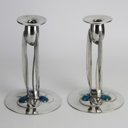 Archibald Knox for Liberty & Co pewter and enamel candlesticks. (c.1903)