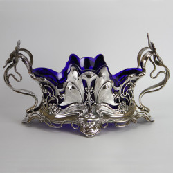 WMF Silver Plated Flower Dish Embossed with Butterflies Berried Vines and Flowers. (c. 1906).