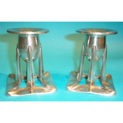 Archibald Knox for Liberty & Co Pair of Pewter Candlesticks. Stamped marks 0222. (c.1903)