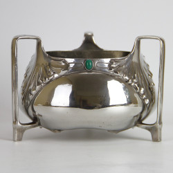 Orivit Art Nouveau Pewter Fruit Bowl with Three Handles (c.1900).