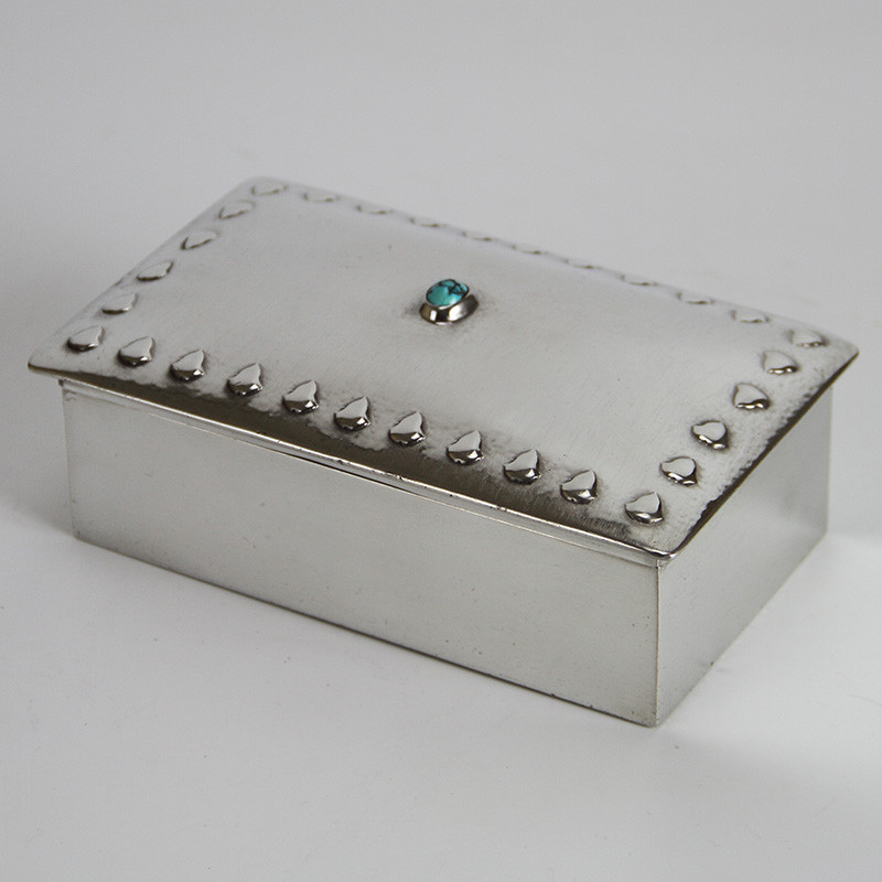 Liberty Tudric Pewter Box Inset with a Turquoise Cabochon (c.1900)