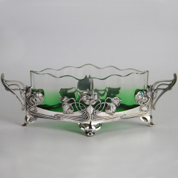 WMF Art Nouveau Silver Plated Flower Dish with Original Crystal Liner (c.1906)