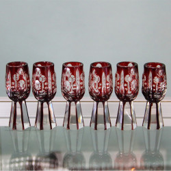 Czech Bohemian Six Art Deco Liqueur Glasses (c.1925)