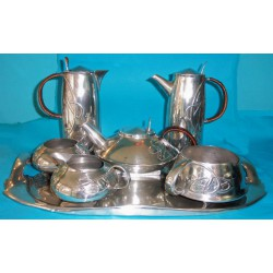 Archibald Knox for Liberty & Co 7 Piece Pewter Tea and Coffee Set. Stamped Marks - English Pewter 0231 (c.1903)