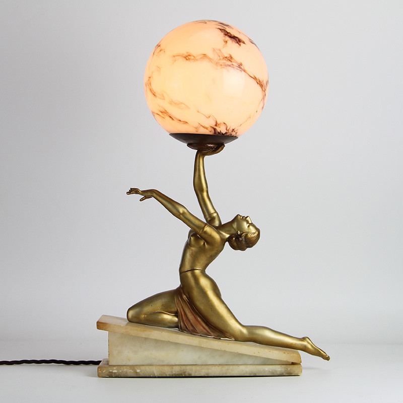 Art Deco Bronzed Spelter Female Figural Lamp (c.1925).