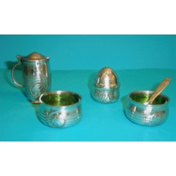 Archibald Knox Tudric Pewter Condiment Set with Original Glass Liners (c.1904)