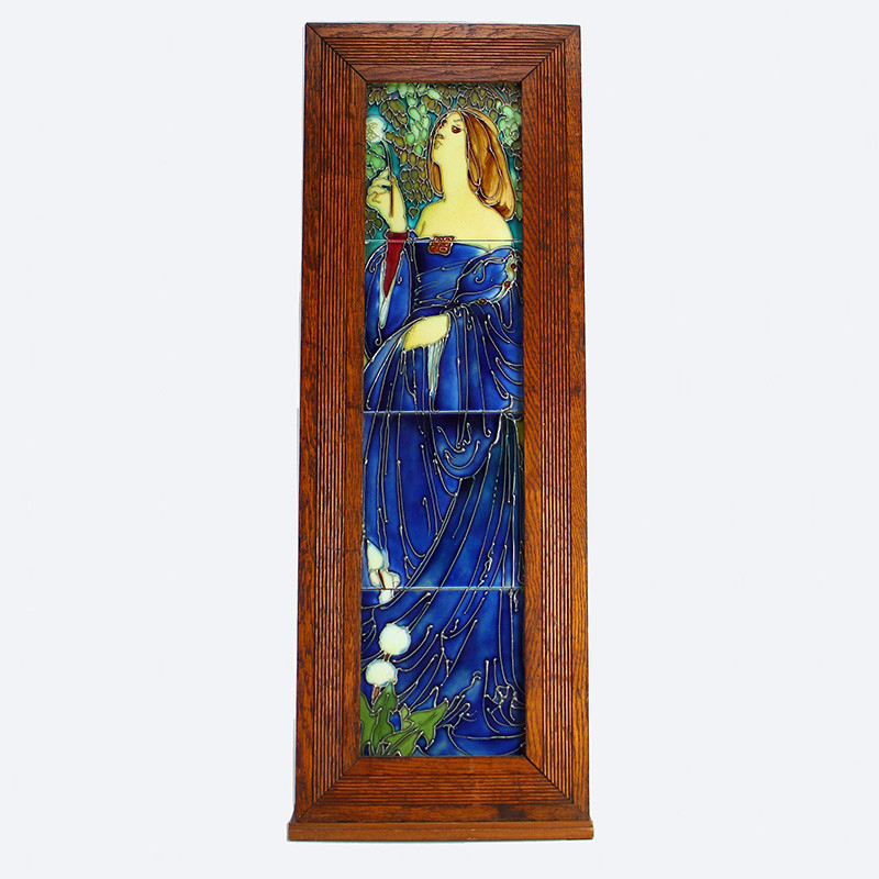 Art Nouveau Maiden Tube-lined tiled picture, Attributed to Frederick and Charlotte Rhead. (c.1905)
