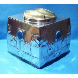 Archibald Knox for Liberty & Co Large Pewter Biscuit Box with Blue/Green Enamels (c.1903)