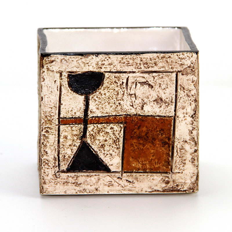 Vintage Troika Cube Vase by Anne Lewis, decorator from 1966-1972.