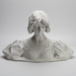 Affortunato Gori Bisque Porcelain Bust of a Young Woman (c.1915)