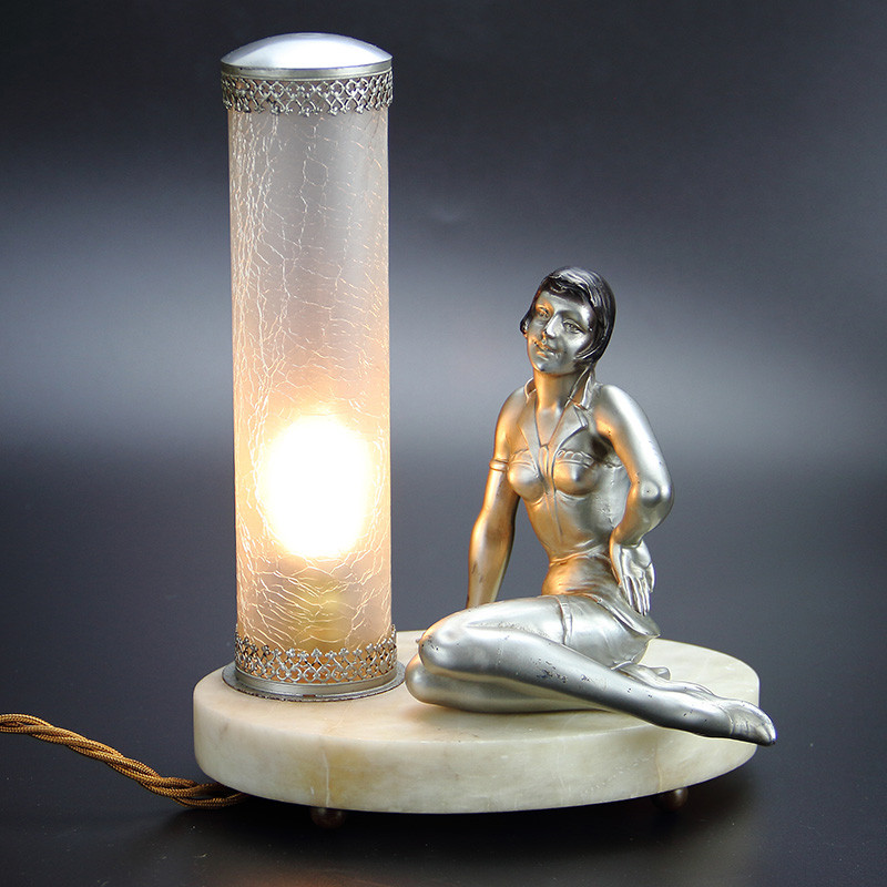 Art Deco Silvered Spelter Lady Lamp with Crackle Glass Shade. (c. 1925).