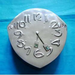 Archibald Knox for Liberty & Co antique Tudric wall clock. Pewter with abalone shell inserts (c.1905)
