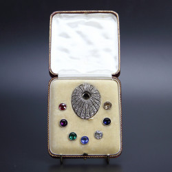 Art Deco Silver and Paste Clip with Interchangeable Stones (c.1925)