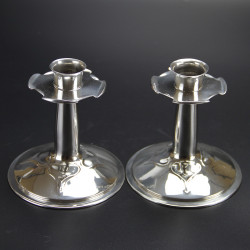 Archibald Knox for Liberty & Co Pair of Pewter Candlesticks (c.1900)
