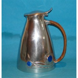 Archibald Knox for Liberty & Co antique Tudric pewter jug with enamels and hinged lid. (c.1905)